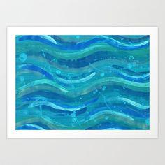 Ocean Waves Art Print by Sarah Underwood Illustration - $22.88