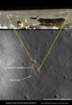 China's Chang'e-3 Lander and Yutu Moon Rover – from Above and Below