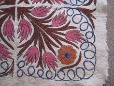 Vintage Area Rug Pink Floral Peacock Shabby Cottage Felted Wool Hand Embroidered