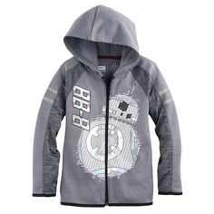 Boys 4-7x Star Wars a Collection for Kohl's Star Wars: Episode VII The Force Awakens Foiled BB-8 Zip Hoodie, Size: 6, Grey