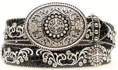 "USUALLY SHIPS IN 5 BUSINESS DAYS - Ariat Women's Western Rhinestone Leather Belt - Rhinestone Buckle Set - Genuine Leather - Croc Print - Belt is 1 1/2"" wide - Buckle is included. - Buckle is convenie"