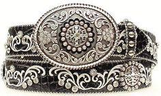 Ariat Women's Western Rhinestone Black Leather Belt