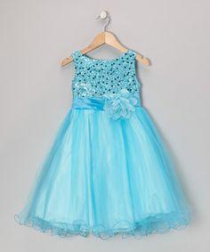 Aqua Sequin Tulle A-Line Dress - Toddler & Girls