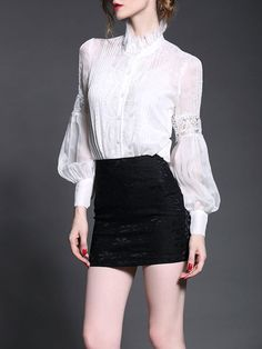 British style 2017 women autumn winter fashion black white short lantern sleeve casual work hollow out lace blouse shirt 8549 Bodysuit Blouse, White Lace Blouse, Lace Silk, Shirt Blouses, Silk Shirts, Autumn Winter Fashion, Blouses For Women, Trends, Casual Outfits