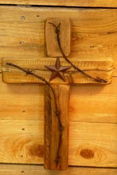 Wooden Cross | Wild West Collection Rustic Cross with Texas Star and Barbed Wire ...
