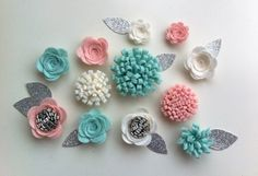 12 Hand made felt 3d flowers/roses & 12 silver by cutzbothways