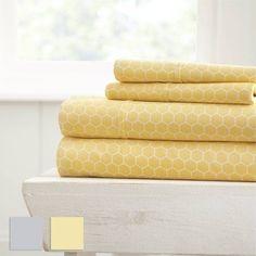 Home Spun™ Ultra Soft Honeycomb Pattern 4 Piece Bed Sheet Set, Yellow