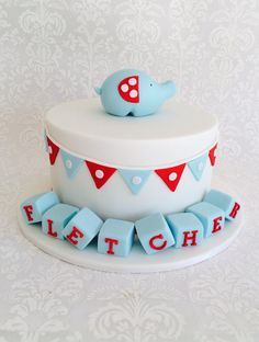 Boys Christening cake with elephant and bunting
