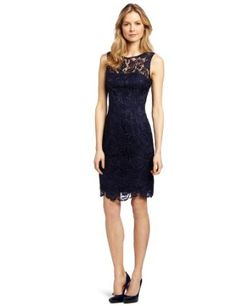 Adrianna Papell Women's Illusion Neckline Lace Dress, Navy, 2 at Amazon Women's Clothing store: Special Occasion Dresses