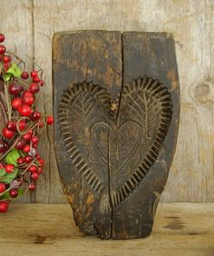 like me: Carved wooden Springerle heart-shaped cake mold - antique… Valentines Day Hearts, Valentine Day Love, Vintage Valentines, Funny Valentine, I Love Heart, With All My Heart, Country Primitive, Primitive Antiques, Heart Crafts
