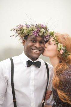 a floral crown for the bride AND groom - Photography by Naomi Kenton Photography / naomikenton.co.uk