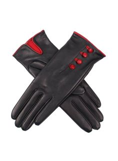 17-1217 Women's Heritage hairsheep leather gloves with 4 colour contrasting buttons and a palm vent. Gloves are lined with contrasting Milanese silk lining.