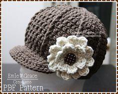 Crochet Newsboy Hat Pattern - Ribbed Flower Cap - 8 Sizes (Newborn to Adult) - SARA - pdf 204