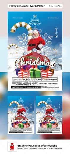 Buy Merry Christmas Flyer and Poster by carlosache on GraphicRiver. Merry Christmas Flyer and Poster Features: 1 PSD File High Quality CMYK with bleeds Includes Blee. Flyer Design Templates, Print Templates, Christmas Flyer Template, Flyer And Poster Design, Merry Christmas, Christmas Poster, Holidays And Events, Candy Cane, Party Invitations