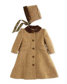Herringbone Tweed Coat and Bonnet, Tan/Multi, 9-24 Months  by Ralph Lauren Childrenswear at Bergdorf Goodman.