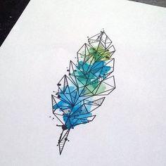 Watercolor geometric feather tattoo