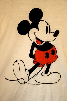 VINTAGE Mickey Mouse Ringer T Shirt, Made in USA by Tropix Togs, Marked Size…