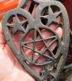Kitchen witch Triquetra Pentagram Wicca Altar Iron Trivet.