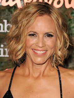 "Maria Bello - ""An angled bob, going from short to long from back to front, looks awesome on curly hair,"" says Willhite. The key is a cut that avoids the dreaded curl-triangle. ""There may be more layering required so the curls fit together, rather than stacking out and not offering much movement."""
