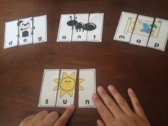 Simple three piece puzzles are a fun and easy way to introduce three letter words! These puzzles help to reinforce the structure and composition of a word using letter sounds, one letter at a time. Special Education Classroom, Kids Education, Preschool Printables, Preschool Activities, Phonological Awareness Activities, Word Games For Kids, Resource Room Teacher, Teaching Handwriting, Three Letter Words