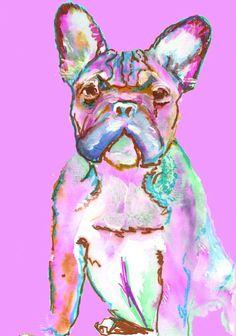 French Bulldog France Bulldog art print from Original hand Signed Frenchie Dog - french buldog gift idea Pink  french bulldog print