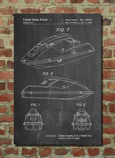 Suzuki Wave Runner Patent Poster Jet Ski Vacation by PatentPrints