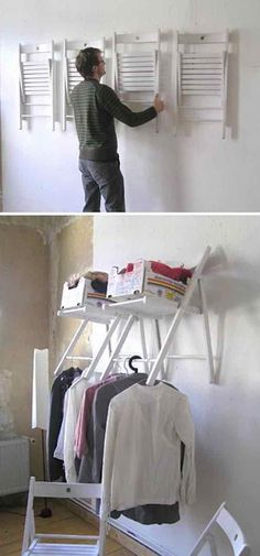 Hanging Chair Organizer - Folding chairs are hung on the wall to provide extra storage shelves and a space for hanging clothes. Source by hanging clothes ideas Folding Furniture, Diy Furniture Hacks, Unusual Furniture, Recycled Furniture, Furniture Makeover, Furniture Design, Folding Chairs, Furniture Stores, Cheap Furniture