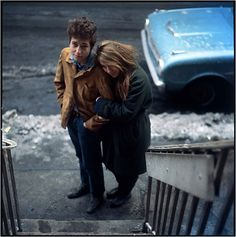 Winter 1963 - Freewheelin' cover outtake - Bob Dylan and Suze Rotolo outside their apartment