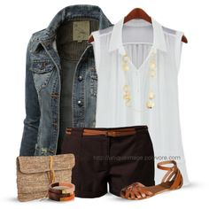 This creator on Polyvore always creates her outfits right on the mark. Casual outfit dressed up with accessories:)