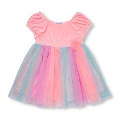 6fd4cea60268f Toddler Girls Short Cap Sleeve Velour And Multi-Colored Mesh Tutu Dress  Toddler Girl Shorts