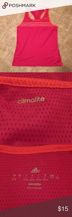 Adidas climate tank In excellent condition no flaws I only wore this once it's pink and orange Adidas Tops Tank Tops