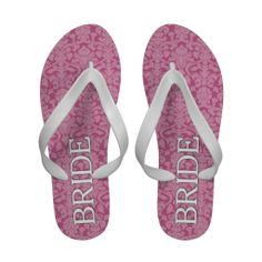 7353e710fc533f Bride with pink and white damask pattern sandals Wedding Flip Flops