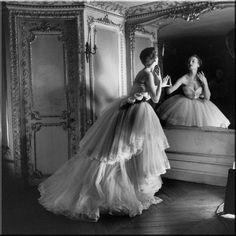 Model in White Dior Ball Gown with Mirror, 1950 | L.E.A.D.