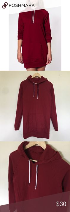 American Apparel Fleece Hoodie Dress Almost like new no rips stains or piling! One size and fits perfectly until m/L size but I'd recommend for a small or medium for better fit! Perfect with boots or leggings then boots or sneakers 😻😻 color is red/maroon American Apparel Sweaters