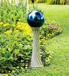 Stainless Steel Gazing Ball with Twisted Stand - Plow & Hearth Garden Stakes, Garden Spheres, Amazing Flowers, Yard Art, Lawn And Garden, Garden Path, Outdoor Gardens, Hearth, Stainless Steel