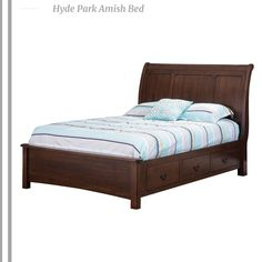 A sleigh-style Amish bed in beautifully handcrafted solid wood. Inset panels on the Amish headboard and footboard throw an exquisitely polished elegance into the classic design. A sleigh bed is a traditional Amish furniture piece that will make an intriguing focal point to your Amish bedroom layout. Select the woods and stains that you love for your Amish bed. . #sleightbed #bed #amishbed #amishfurniture #bedroom #bedroomfurniture finefurniture #contemporary #contemporaryfurniture
