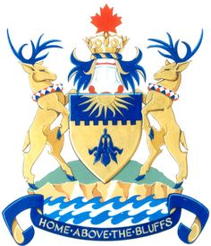 City of Scarborough Grant of Arms. Blue and gold are the City's official colours. The embattlement represents the Scarborough Bluffs and alludes to the City's function to protect and nurture its people. The columbine is the floral emblem for Scarborough. #Scarborough
