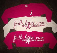 Faith Hope Cure Breast Cancer Awareness glitter vinyl spirit jersey (pink, white, black, gray)