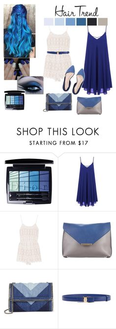 """blue hair trend - outfit love blue"" by kelly-vera-kcont ❤ liked on Polyvore featuring beauty, Christian Dior, Alice + Olivia, Emilio Pucci, STELLA McCARTNEY, Salvatore Ferragamo, hairtrend and rainbowhair"