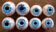 4 pairs special blue bloodshot eyeballs-Halloween lampwork beads