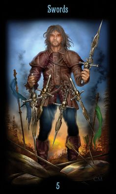 5 d'épées - Legacy of the Divine Tarot par Ciro Marchetti Five Of Swords, Pet Psychic, Divine Tarot, Astro Tarot, Oracle Cards, Tarot Decks, Archetypes, Magick, Beautiful