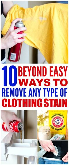 These 10 Beyond Easy ways to Remove every type of stain are THE BEST! I'm so happy I found these GREAT tips! Now I have stain removing hacks that'll save me money and my favorite outfits! Definitely pinning!