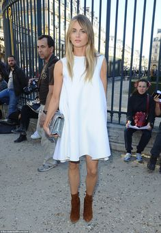 Fashion's darling: Cressida Bonas looked chic in all white as she arrived at the Dior show at Paris Fashion Week