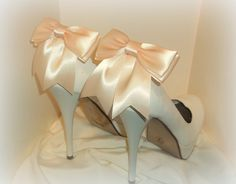 Bridal Shoe Clips  Satin Bows  MANY COLORS by ShoeClipsOnly, $26.00