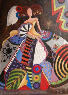 Menina 8 Serie Diciembre 2015 | Raquel de Bocos Easy Canvas Painting, Time Painting, Artist Painting, Illustrations, Illustration Art, African Paintings, Batik Art, Collage Art Mixed Media, Korean Art