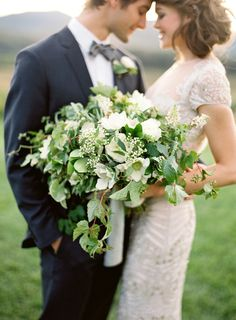 Wild green and white bouquet by Beehive Events and styled by Easton Events. Photo by Jose Villa.