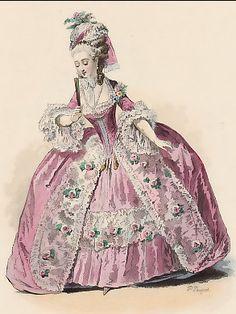 Duchesse, Règne De Louis XVI, D´Après Moreau, 1783 P010077 France. Original lithograph drawn and engraved by Polydore Pauquet. 1864.