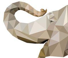 Low Poly Elephant Print Jungle Nursery Theme by tothewoodside