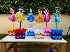Items similar to Princess Ariel Belle Jasmine Snow White Cinderella Sleeping Beauty birthday handcrafted wood centerpieces birthday themed event SET OF 6 on Etsy 2 Birthday, Disney Princess Birthday Party, Princess Theme Party, Girl Birthday Themes, Birthday Crowns, Cinderella Party, Princess Birthday Centerpieces, Princess Party Decorations, Embroidery Applique