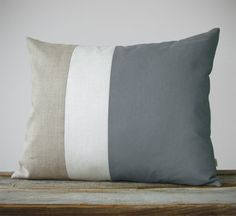 16x20 Color Block Pillow in Gray Cream and Natural by JillianReneDecor
